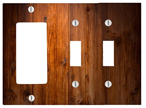 - Wood Rustic Wooden Background 3 Gang, 2 Toggle, 1 Dimmer, Decorator Electrical Switch Wall Plate (6.56 x 4.69in)