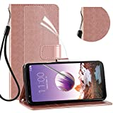 LG Stylo 4 Phone Wallet Case, LG Stylo 4 Plus Case with HD Screen Protector,[Kickstand] [Card Slots] [Wrist Strap] Magnetic Flip PU Leather Wallet Cover Compatible LG Q Stylus-Rose-Gold