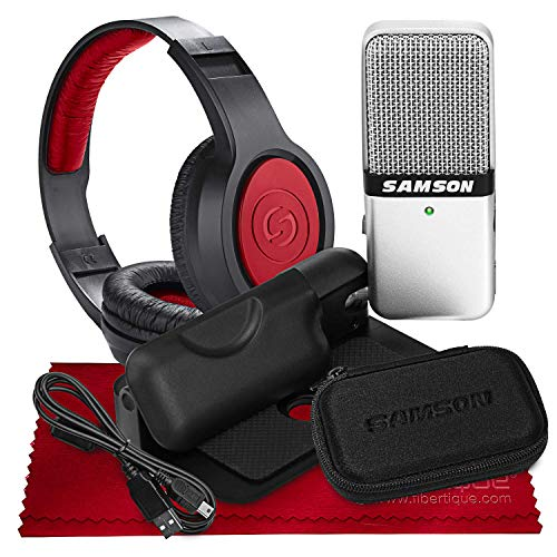 (Samson Go Mic USB Microphone for Mac and PC Computers with Over-Ear Headphones Bundle)