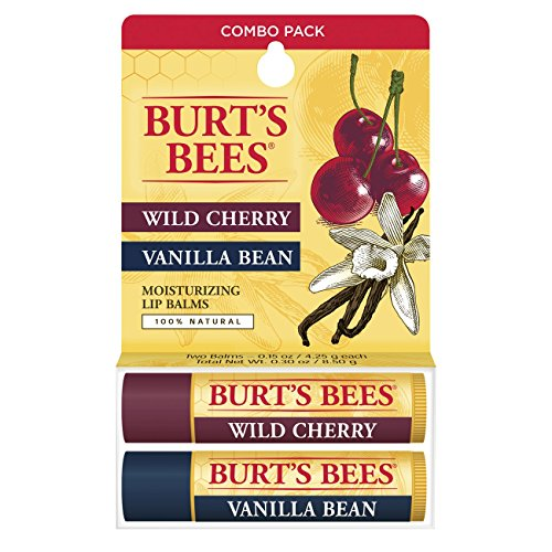 Burt's Bees 100% Natural Moisturizing Lip Balm, Wild Cherry and Vanilla Bean -  2 Tubes