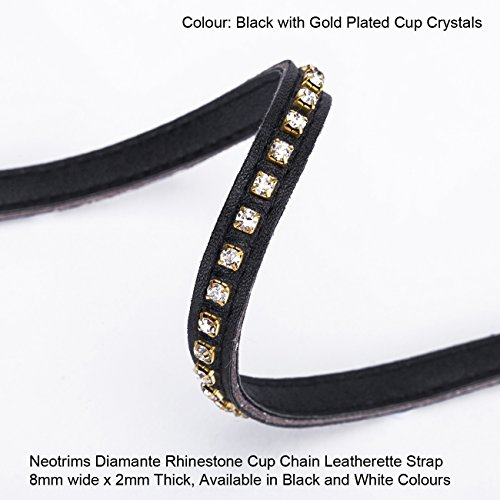 Neotrims 8MM Diamante Rhinestone Crystal Cup Chain Faux Leatherette Strap (Off Gold Plated)
