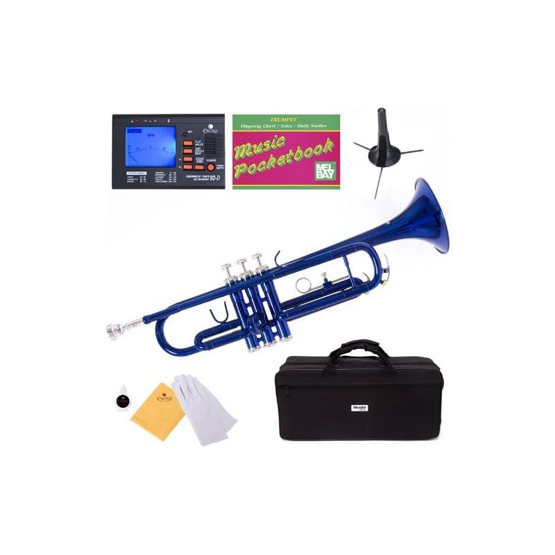 Mendini MTT-BL Blue Lacquer Brass Bb Tru