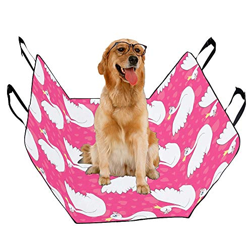 JTMOVING Fashion Oxford Pet Car Seat Crown Queen Hand-Painted Design Waterproof Nonslip Canine Pet Dog Bed Hammock Convertible for Cars Trucks SUV