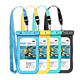 Waterproof Phone Pouch, IPX8 Universal Waterproof Case Underwater Dry Bag 4-Pack Compatible for iPhone XS Max/XS/XR/X/8, Galaxy S9/S9P/S8/Note 9/8, Google/HTC up to 6.5