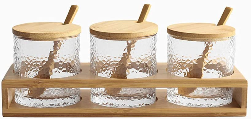 Jomop 3 Bottles/Set Bamboo Lid Condiment Pot Seasoning Bottle Glass Kitchen Supplies Spice Rack Salt and Pepper Jar Container (Bamboo)