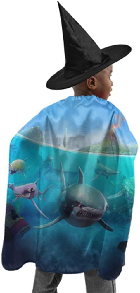 Hungry Shark World X iOS Android Shark Hooded Cloak Coat Cape Cloak Men Witch Cloak and Hat Dress Up for Halloween Birthday Party