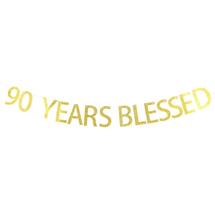 INNORU 90 Years Blessed Banner Gold Glitter Sign