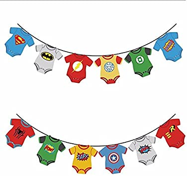 Amazon.com: Cute superhéroe Banners Baby Shower Fiesta de ...