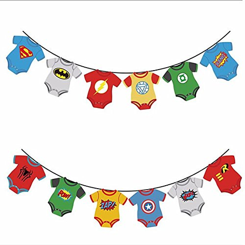 Cake Mania Superhero Baby Marvel Avengers Party Banner Decorations- Baby Shower, First Birthday Party,Nursery Decorations, DC Justice League]()