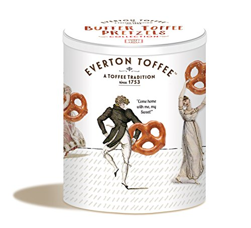 Gourmet Mini Pretzels - Everton Toffee Butter Toffee Pretzels, Original Toffee and Toasted Pecan Flavors (8 oz. tin), Gourmet Artisan Toffee Covered Pretzels, Sweet and Salty Mini Pretzel Snacks, Small Batch Crafted