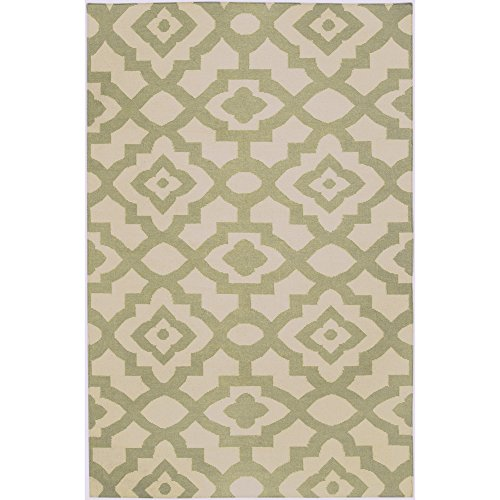 Surya Candice Olson by Market Place MKP-1001 Flatweave Hand Woven 100% Wool Sage Green 2' x 3' Global Accent (Market Place Hand Woven Rug)