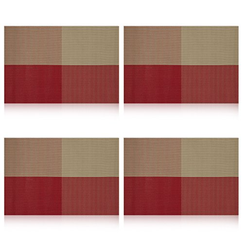 Uartlines Placemats Stain resistant Placemat Orange red
