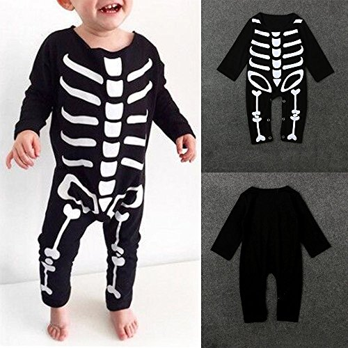 Baby Kids Childs Boys Girls Bone Skull Skeleton Halloween Fancy Dress (Dc Comics Raven Costume)