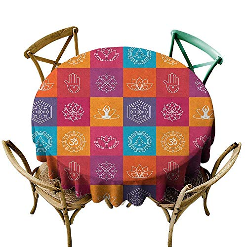 Wendell Joshua red Tablecloth 36 inch Yoga,Colorful Collection of Yoga Icons and Relaxation Symbols Wellness Harmony Health Zen, Multicolor Great for Buffet Table, Parties, Holiday Dinner & More