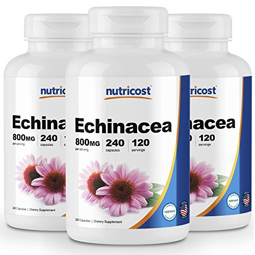 Nutricost Echinacea 800 mg, 240 Capsules, 3 Bottles - High Quality Veggie Caps, Non GMO, Gluten Free, 120 -