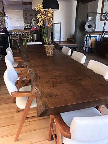 Amazoncom Dark Solid Wooden Dining Table With Beautiful Live Edge