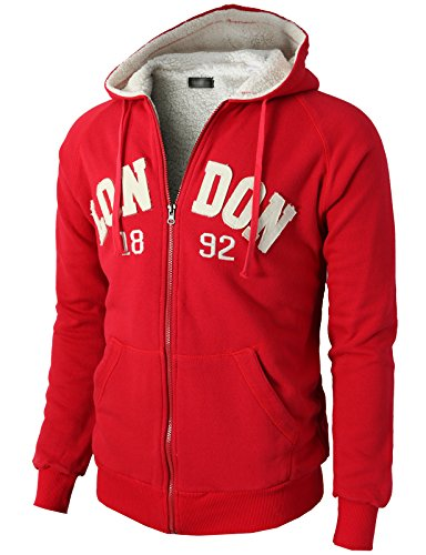 H2H Mens Fashion Active Raglan Sleeve Fur Inside Slim Fit Hoodie Zip-up RED US L/Asia XL (KMOHOL0102)