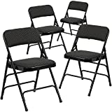 Black Padded Folding Chairs Flash Furniture 4 Pk. HERCULES Series Curved Triple Braced & Double Hinged Black Patterned Fabric Metal Folding Chair