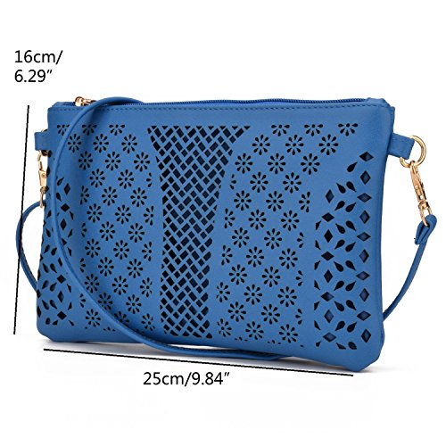 Hollow Leather 2 Out Women Purse Handbag Jiaruo Girls Bag Crossbody Blue Vintage Sling OUWwAn
