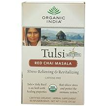 Organic India Tulsi Red Chai Caffeine Free Tea, Masala, 18 Count (Pack of 6)