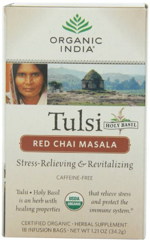 Chai Red Tea (Organic India Organic Tulsi Herbal Tea, Red Chai Masala, 18 Tea Bags (Pack of 6))