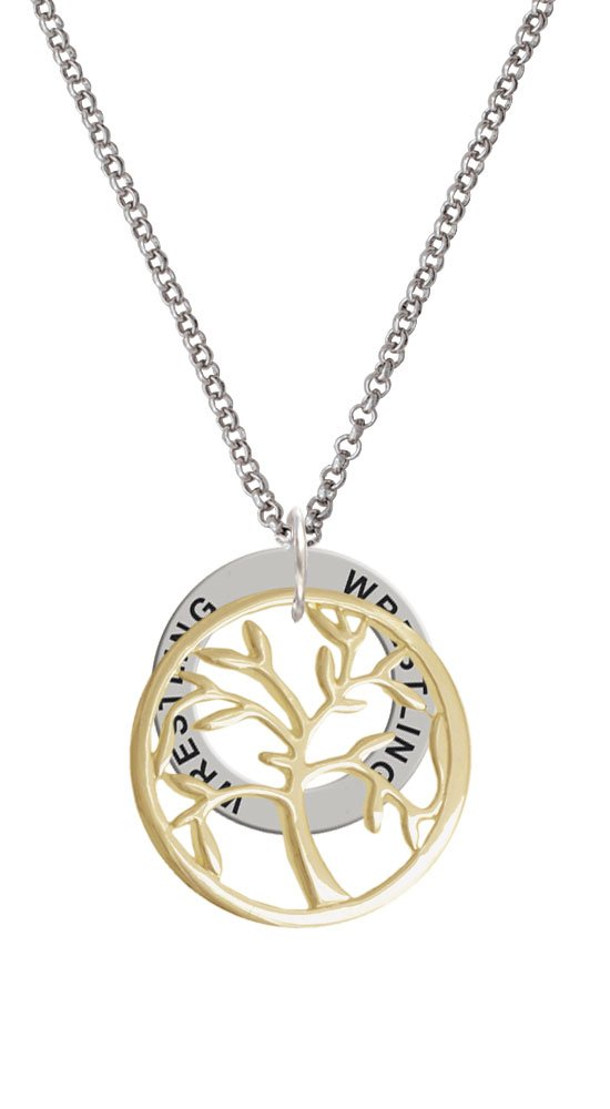 Gold Tone Tree of Life in Circle - Wrestling Affirmation Ring Necklace