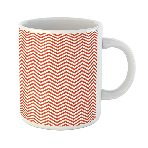 Tarolo 11 Oz Mug Coffee Mug Ceramic Tea Cup Colorful Abstract Zigzag Pattern Simple Luxury Emblem Label Tie Summer Spring Fall Autumn Color Red Beautiful Large C-handle Family and Office Gift