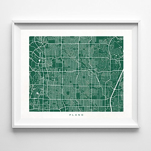 Plano Texas Street Road Map Poster Wall Art Print [ 70 COLOR CHOICES ] Modern City Art Urban Home Decor Unique Artwork UNFRAMED