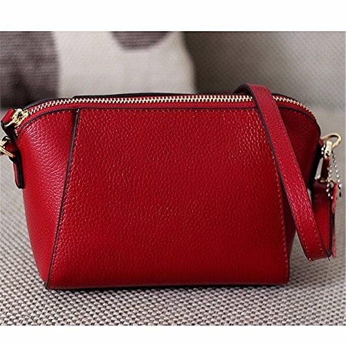 Las mujeres solo bolso lady Bag Mini Bolsa de cuero simple cruz oblicua moda mochila de ocio, 17*8*13cm, vino rojo Vino Rojo