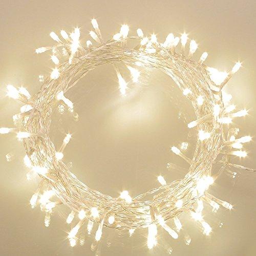 100er LED Lichterkette Batterie betrieben WarmWeiß Ideal für CHRISTMAS, Festlich, Hochzeiten, Geburtstag, PARTY, NEW YEAR Dekoration, HÄUSER ETC