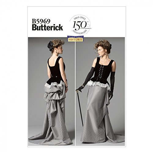 Steampunk Sewing Patterns- Dresses, Coats, Plus Sizes, Men's Patterns Butterick Ladies Sewing Pattern 5969 Historical Costume Corset & Skirt $13.43 AT vintagedancer.com