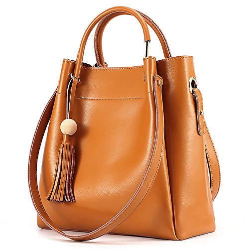 (Kattee Women's Genuine Leather Hobo Tote Shoulder Bag with Tassel (Brown))