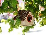 Wood Birds Nest Box Breeding Parrot Cockatiels Swallows Nest Outdoors Roof Wooden Bird House Hanging Decoration