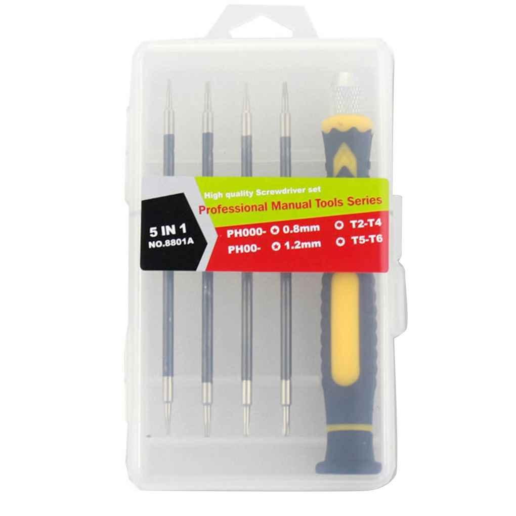5 en 1 tournevis de précision Set Mini Réparation Vis magnétique Ménage conducteur Kit téléphone Horloge Montre outil de réparation