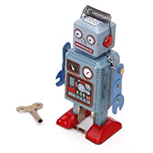 Wind Up Robot Toy Collectible Gift w/ Key Light Green + Red