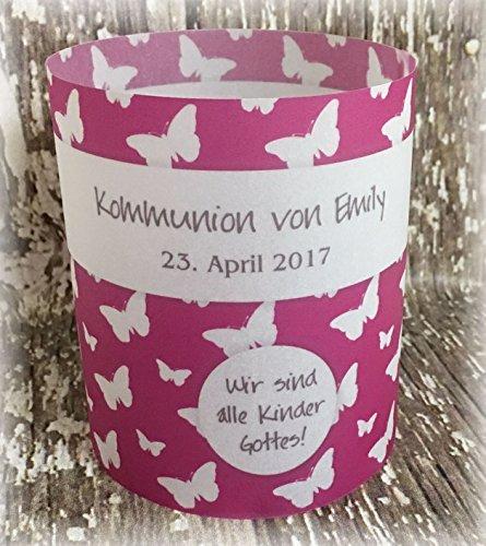 4er Set Tischlicht Tischlichter Kommunion Konfirmation Jugendweihe Taufe Schmetterlinge Deko Tischdeko personalisierbar pink
