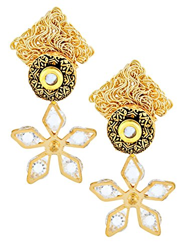Indian Bollywood Floral CZ American Diamond Antique 22K Gold Plated Kundan Dangling Earring For Women Christmas Gift ()