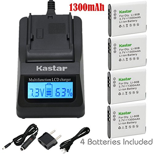 Kastar Ultra Fast Charger Kit and Battery (4-Pack) for Olympus LI-90B, LI-92B, UC-90 and Olympus SH-1, SH-50 iHS, SH-60, SP-100, SP-100EE, Tough TG-1 iHS, Tough TG-2 iHS, Tough TG-3, XZ-2 his Cameras