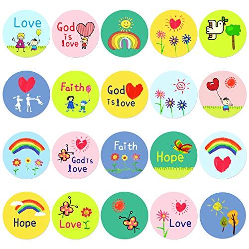 Christian Faith Stickers - 500 pcs Kid-Drawn Christian Faith Shape Stickers