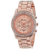 Reloj de oro las mujeres marca de lujo caliente Ginebra señoras relojes regalos para niña llena Acero Inoxidable Reloj de cuarzo rhinestone, Rose gold