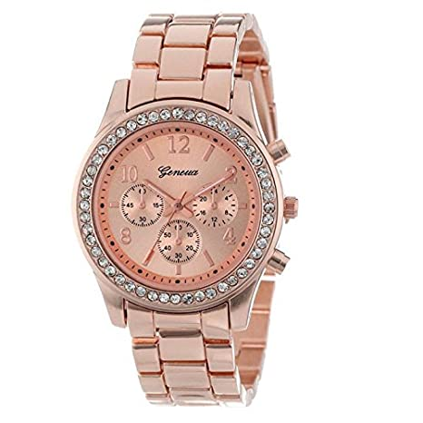 Amazon.com: Womens Watch,Faux Chronograph Wristwatch Quartz Plated Quartz Round Crystals Watch Axchongery (Rose Gold): Musical Instruments