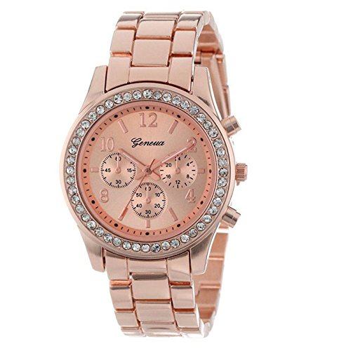 Han Shi Crystals Watch, Fashion Ladies Women Girls Faux chronograph Quartz Classic Round Clock (A, Rose Gold) from Han Shi