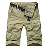 Kolongvangie Hiking Shorts Men's Solid Multi-Pocket Cargo Shorts Casual Slim Fit Solid Shorts