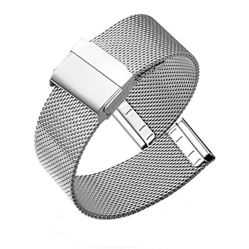 Metal Mesh Strap - 22mm Solid Stainless Steel Milanese Watch Band Silver Replacement Mesh Metal Strap Interlock Safety Clasp Watch Strap