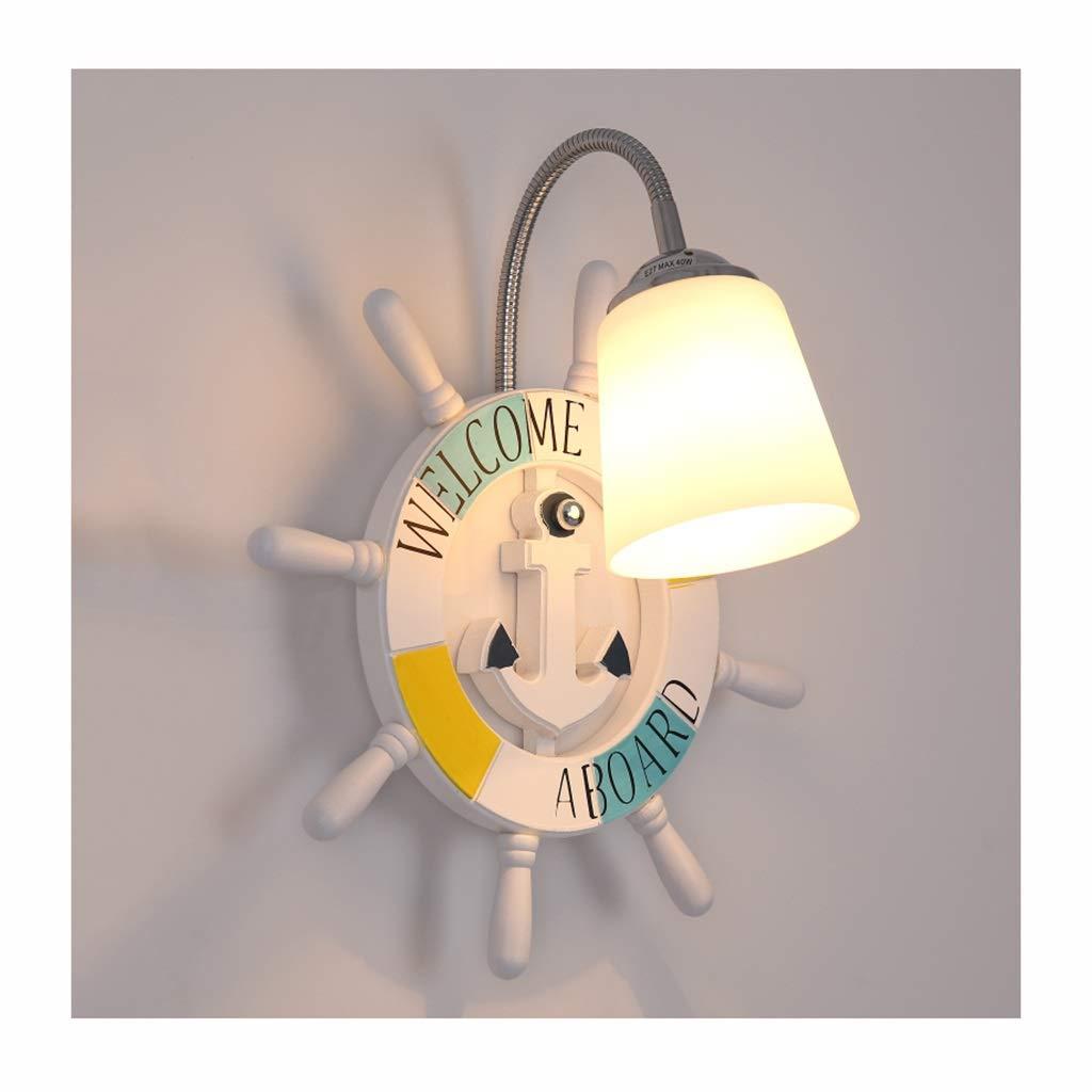 Unbekannt $Wall lamp Light Wandleuchte Hardware Harz E27 LED Kinderzimmer Studie Schlafzimmer Wandleuchte Wanddekoration Lichter (Farbe : Dreifarbiges Dimmen, größe : B)