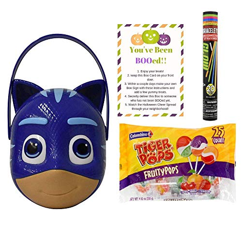 Plastic Character Basket for Halloween Trick or Treat Candy Costume Also Includes 1 Bag of Tiger Swirled 25 Lollipops, 20 Glow Bracelets & 1 Boo Card Activity (Blue Plastic Catboy) -