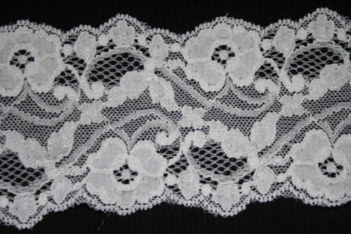 White Vampiress In Wig (2 YARDS Vintage Sewing Trim Lace Galloon Scalloped White Stretch Sewing Lingerie Lace Floral Lace Edge Embroidered Lace Trim DIY Craft 3