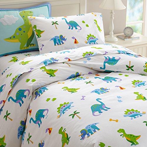 Wildkin Twin Duvet Cover, Super Soft 100% Cotton Twin Duvet Cover with Button Closure, Coordinates with Other Wildkin Room Décor, Olive Kids Design – Dinosaur Land ()