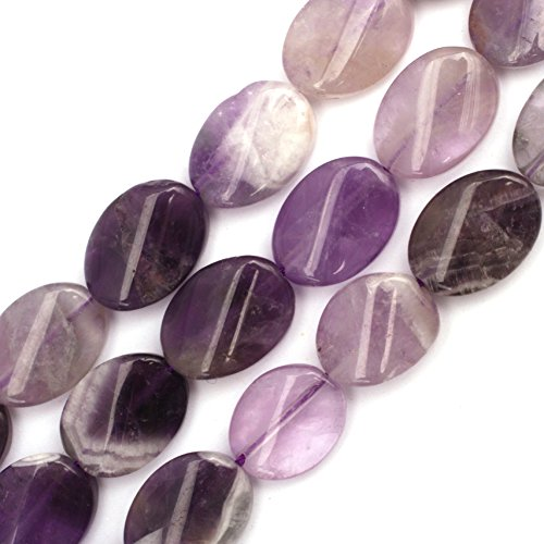 (JOE FOREMAN 13x18mm Amethyst Semi Precious Gemstone Oval Twist Loose Beads for Jewelry Making DIY Handmade Craft Supplies 15