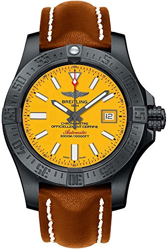 Breitling Avenger II Seawolf Yellow Dial Mens Watch on Brown Leather Strap